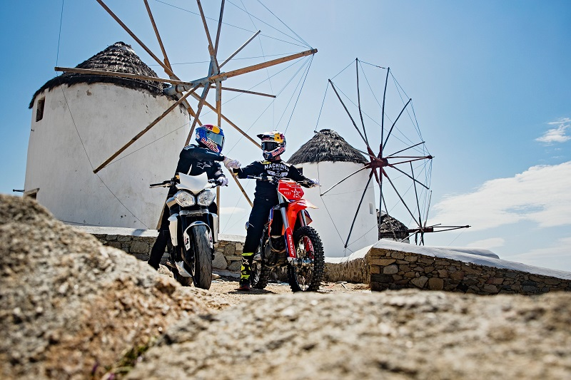 Robbie Maddison and Aaron Colton seen during Ripping Mykonos in Mykonos, Greece on May 12, 2019.